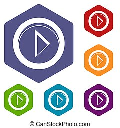 Cursor to right in circle icons set rhombus in different...