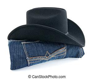 vaquero, sombrero, azul, vaqueros