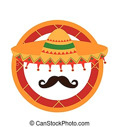Cinco de mayo - Isolated label with a hat and a mustache,...