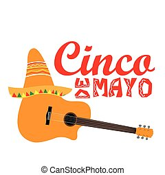 Cinco de mayo - Isolated guitar with a traditional hat,...