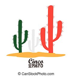 Cinco de mayo - Isolated group of cactus, Cinco de mayo...