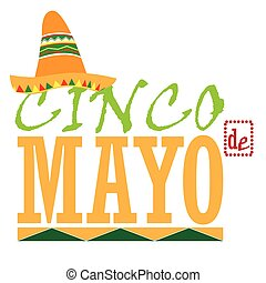 Cinco de mayo - Isolated traditional hat and text, Cinco de...