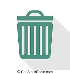 Trash sign illustration. Veridian icon with flat style...