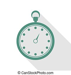 Stopwatch sign illustration. Veridian icon with flat style shadow path.