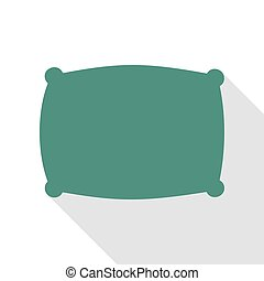 Pillow sign illustration. Veridian icon with flat style...