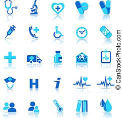 salud, cuidado, iconos
