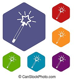Magic wand icons set rhombus in different colors isolated on...