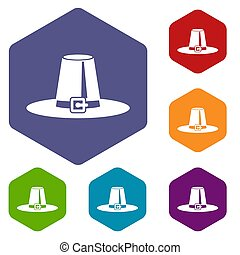 Pilgrim hat icons set rhombus in different colors isolated...