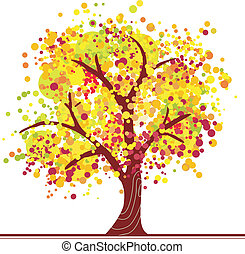 Colorful autumn tree - Autumn tree made of colorful dots in...