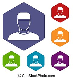 Doctor icons set rhombus in different colors isolated on...
