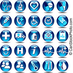 Health Care Icons Gloss - 25 Health care Icons covering...