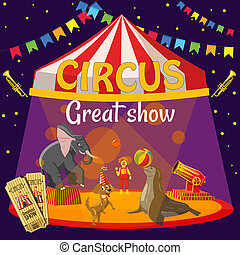 Great circus show concept, cartoon style