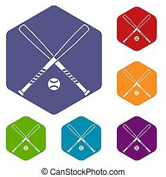 Crossed baseball bats and ball icons set rhombus in...