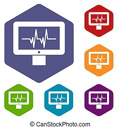 Electrocardiogram monitor icons set rhombus in different...