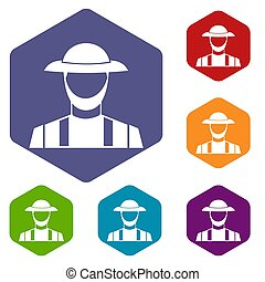 Farmer icons set rhombus in different colors isolated on...