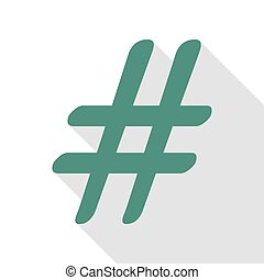 Hashtag sign illustration. Veridian icon with flat style...