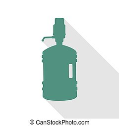 Plastic bottle silhouette with water and siphon. Veridian...