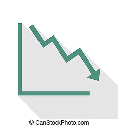 Arrow pointing downwards showing crisis. Veridian icon with flat style shadow path.