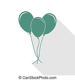 Balloons set sign. Veridian icon with flat style shadow path.