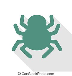 Spider sign illustration. Veridian icon with flat style...