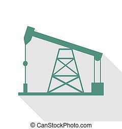 Oil drilling rig sign. Veridian icon with flat style shadow...