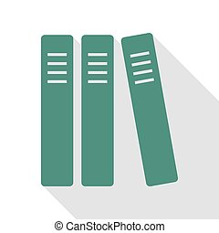 Row of binders, office folders icon. Veridian icon with flat...