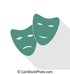Theater icon with happy and sad masks. Veridian icon with...