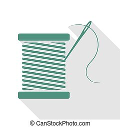 Thread with needle sign illustration. Veridian icon with...