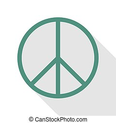 Peace sign illustration. Veridian icon with flat style...