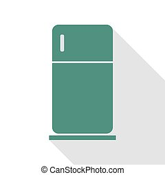 Refrigerator sign illustration. Veridian icon with flat...