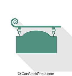 Wrought iron sign for old-fashioned design. Veridian icon...