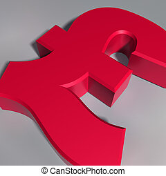 Pound Sterling Symbol - Close up view of a British pound...
