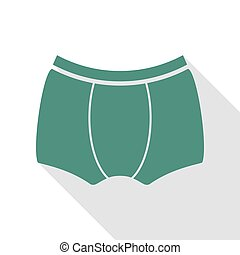 Man`s underwear sign. Veridian icon with flat style shadow path.
