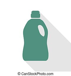 Plastic bottle for cleaning. Veridian icon with flat style...