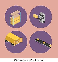 Warehouse logistics isometric icon set - Warehouse logistics...