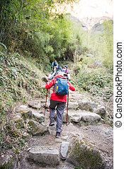 Nepal - 29 December 2016 :: Hiking to Himalaya mountain in Nepal