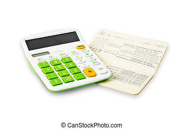Calculator and saving account passbook. - Calculator and...