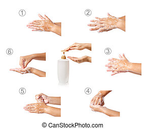 Hand washing medical procedure step by step. Isolated on...