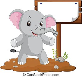 elephant cartoon with a blank sign