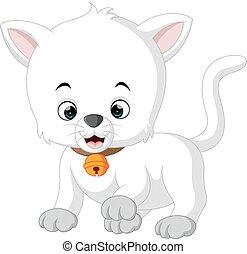 white cat cartoon