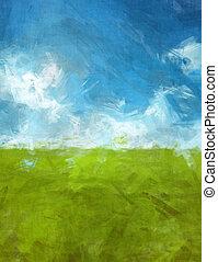 blue green abtsract landscape - An image of a blue green...