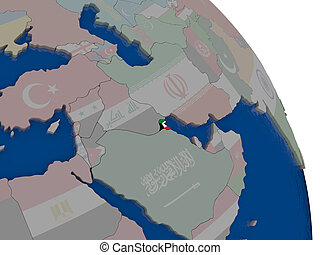 Kuwait with flag on globe - Kuwait with embedded national...