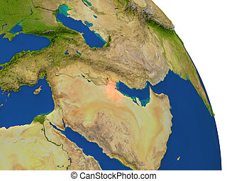 Map of Kuwait in red - Map of Kuwait with surrounding region...