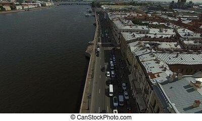 4k aerial shot of Saint-Petersburg embankment shot