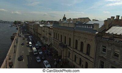 4k aerial shot of Saint-Petersburg wedding palace on English...