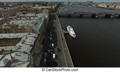 4k aerial shot of Saint-Petersburg embankment shot