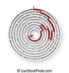3d rendering of a white round maze with a red arrowed line...