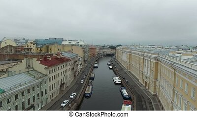 Moyka river in Saint-Petersburg aerial shot