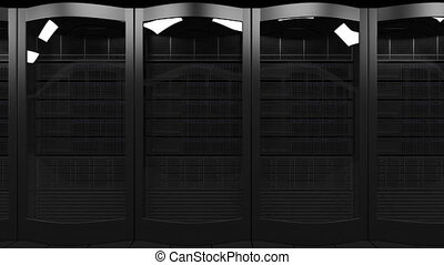 Server racks dolly seamless loop animation. Cloud...
