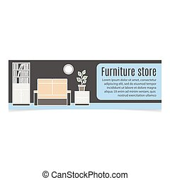 Furniture horizontal banner with sofa and bookshelf. Vector...